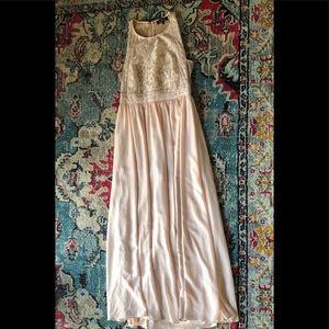Lulu's Blush Pink Lace Maxi Bridesmaid Dress